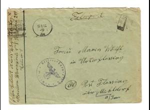 Feldpostbrief 1944, Warschau nach Post Flossing/Mühldorf/Inn mit Werbestempel