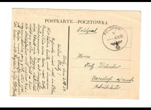 Feldpost Ansichtskarte Lodz, 4.10.39, kurz nach Kriegsende nach Karsdorf