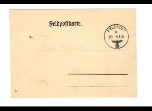 sehr frühe Feldpostkarte 5.9.39 mit Info FPNr. 03856 und Postsammelstelle