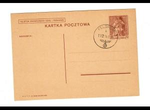 Feldpoststempel 14.9.39 auf poln. Beute-Ganzsache, Stempel noch im Polenfeldzug