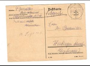 frühe Feldpost, 12.9.39, FPNr. 16710 nach Wertingen