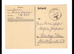 frühe Feldpost, 25.9.39, FPNr. 16667 nach Simbach am Inn