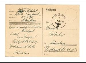 frühe Feldpost, 21.09.39 mit FPNr. 03639 nach München