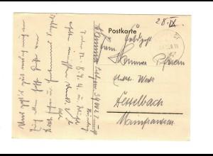 frühe Feldpost, 23.09.39 mit FPNr. 34002 auf Postkarte nach Dettelbach