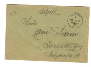 sehr frühe Feldpost, 10.09.39 mit FPNr. 27658 Raum Sienno nach Saalfeld