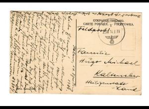 frühe Feldpost, 14.09.39 mit FPNr. 29307 auf Ansichtskarte Kosciol,