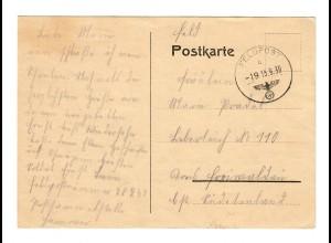frühe Feldpost, 15.09.39 mit FPNr. 28241 auf Postkarte ins Sudetenland