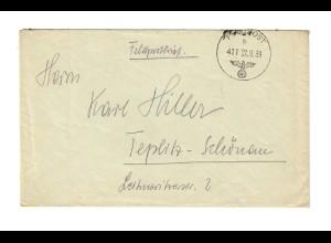frühe Feldpost, 22.09.39,FPNr. 27818, Raum Modlin/Warschau nach Teplitz-Schönau