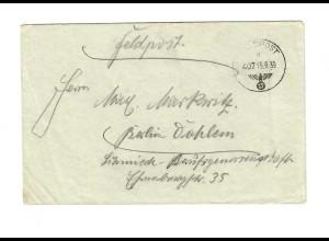 frühe Feldpost, 15.09.39 mit FPNr. 27185, Raum Siemiawa/Radomysl nach Berlin