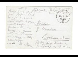 frühe Feldpost, 18.09.39 auf FPNr. 20790, Ansichtskarte mit Hirsch nach Dortmund