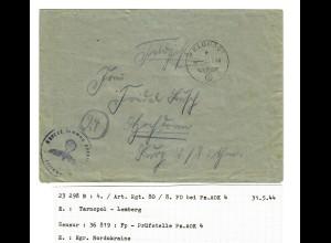Feldpost 31.5.44 Tarnopol FPNr. 23298B, Zensur Feldpostprüfstelle Pz.AOK 4,