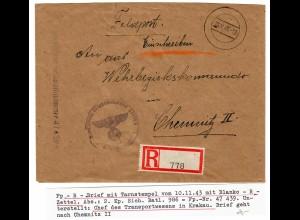 GG: Feldpost Einschreiben Blanko R-Zettel 1943, Kp. Sich. Batl. 986, FPNr. 47439