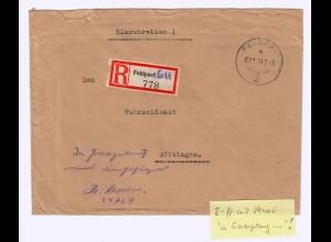 GG: 1943, Feldpost R-Zettel, In Ermangelung Dienstsiegel ... nach Göttingen
