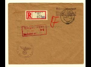 GG 1942 Feldpost: R-Brief Krakau, Wehrmachtsdienstpost nach Leipzig