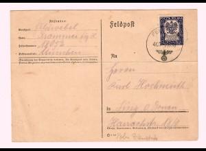 GG 2.10.39, frühe Feldpostkarte Ostrowice nach Linz, poln. Marke