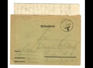 GG: Feldpost 19.10.39, FPNr. 02823 nach Dresden mit Briefinhalt