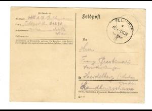 GG Feldpost 1.10.39, frühe Feldpost FPNr. 01298 nach Heidelberg