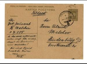 GG Feldpost 15.11.39 auf poln. Ganzsache mit FPNr. 07955 nach Hindenburg
