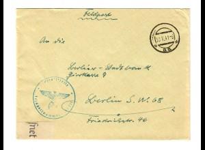 GG Feldpost 1941: Aufklärungsstaffel Warschau mit Feldpostzensur nach Berlin
