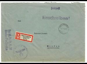 GG Feldpost 1943 Einschreiben Biala Podlaska/Lublin nach Meißen, Inf.Pz.Jäger Kp