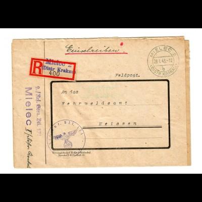 GG Feldpost 1943 Einschreiben Mielec, Res. Gren. Btl. nach Meissen