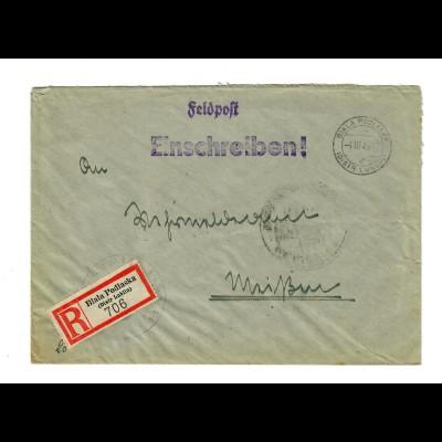 GG 1943 Feldpost Einschreiben Biala Podlaska/Lublin nach Meißen, Inf.Pz.Jäger Kp