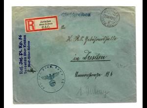 GG 1943 Feldpost Einschreiben Biala Podlaska/Lublin nach Dresden Inf.Pz.Jäger Kp