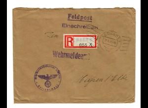 GG 1943 Feldpost: Einschreiben Lemberg Wehrüberwachungsamt nach Meißen