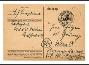 GG 1944 Feldpost: Zakopane nach Wien Rossauer Kaserne