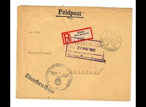 GG 1943 Feldpost: Einschreiben Mielec/Krakau nach Meißen