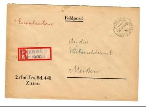 GG 1944 Feldpost: Einschreiben Brzesko, Inf. Ers. Btl. 440 nach Meißen