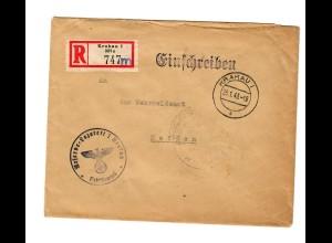 GG 1943 Feldpost: Einschreiben Krakau Reserve Lazarett nach Meißen