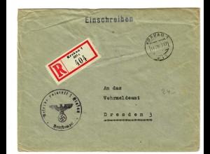 GG 1943 Feldpost: Einschreiben Krakau Reserve Lazarett nach Dresden