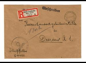 GG 1944 Feldpost: Einschreiben Biala Podlaska an Heeresstaatsgebührnisstelle