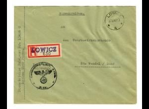 GG 1940 Feldpost: Einschreiben Lowicz FPNr. 13496 C nach St. Wendel
