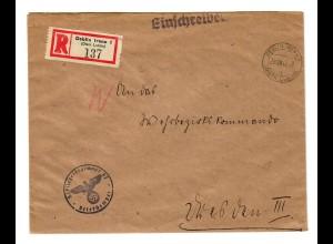 GG 1942 Feldpost: Einschreiben Deblin Irena/Lublin Fliegerregiment nach Dresden