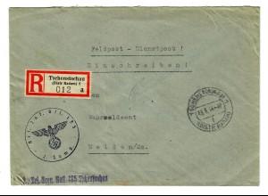 GG 1944 Feldpost: Einschreiben Tschenstochau nach Meißen