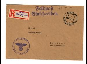 GG 1943 Feldpost: Einschreiben Minsk/Warschau FPNr. 36643 E