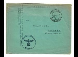GG 1942 Feldpost: Pulawy, Deutsche Post Osten, Kriegslazarett nach Erfurt
