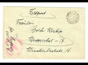 GG 1943 Feldpost: Heeres Kraftfahrpark FPNR. 07515 A nach Wuppertal