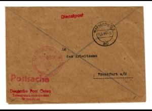 GG 1944 Postsache Deutsche Post Osten, Telegraphenbauamt nach Frankfurt