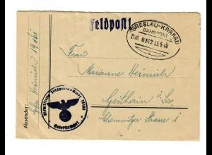 GG 1943 Feldpost: Bahnpoststempel Breslau-Krakau nach Geithain