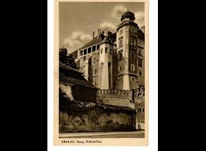 GG 1940 Feldpost: AK Krakau, Burg Hühnerfuss (Regierung) nach Forst