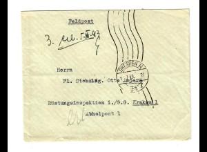 GG 1943 Feldpost Brief Dresden an Rüstungsinspektion Krakau