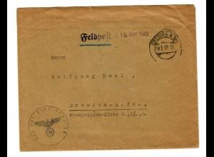 GG 1943 Feldpost Brief Jaroslau Pi. - Kp. 56 nach Dresden, nachgestempelt