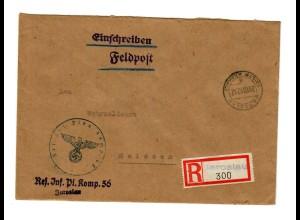 GG 1942 Feldpost: R-Brief Jaroslau, Res. Inf. Pi. Komp. nach Meißen