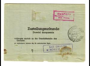 GG 1942: gerichtliche Zustellurkunde, Postagentur Szaflary /Neumarkt