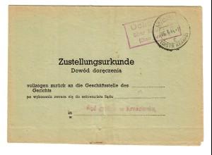 GG 1944: gerichtliche Zustellurkunde, Postagentur Ochotnioc/Neumarkt