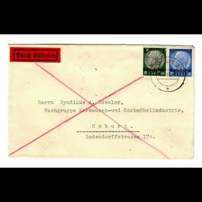 GG 1940 früher Eilbotenbrief portogerecht Rudnik a.d. San nach Coburg, Korbwaren