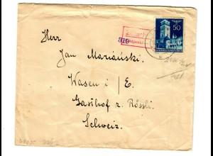 Interniertenpost GG: Brief portogerecht nach Wasen von Lancut, 2x Zensur